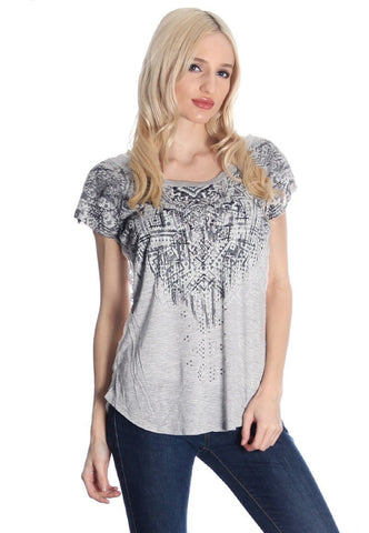 Grey Aztec Print Blouse With Lace Back, Short Sleeve Tops