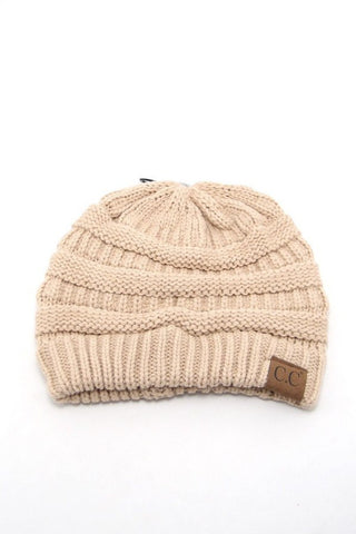 Beige Solid Color CC Beanie, Beanies