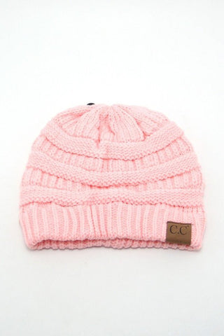 Light Pink Solid Color CC Beanie, Beanies