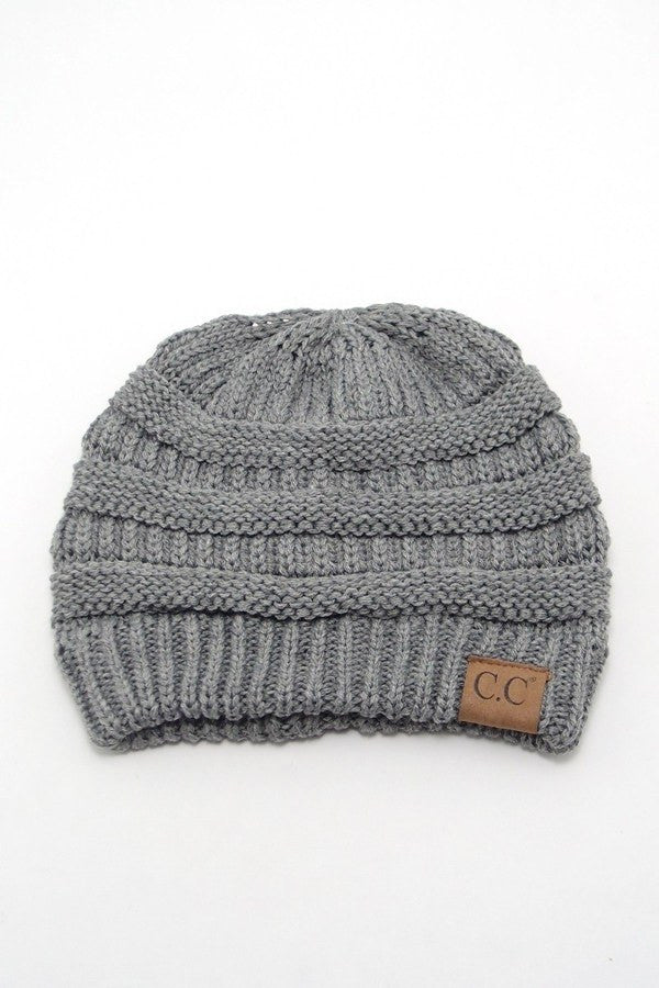 Grey Solid Color CC Beanie, Beanies