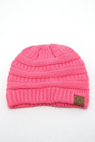 Candy Pink Solid Color CC Beanie, Beanies