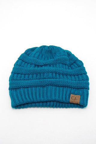 Teal Solid Color CC Beanie, Beanies