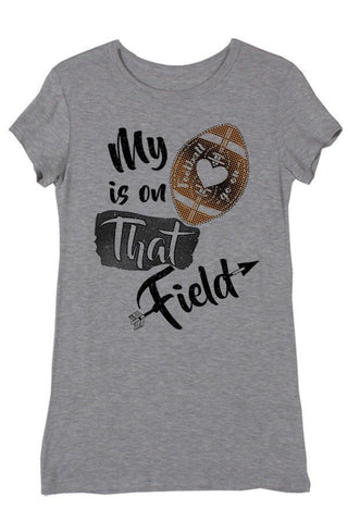 My Heart Is On That Field Heather Grey Short Sleeve Football Top, Short Sleeve Tops