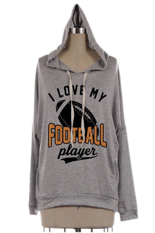 I Love My Football Player Hoodie, Hoodies