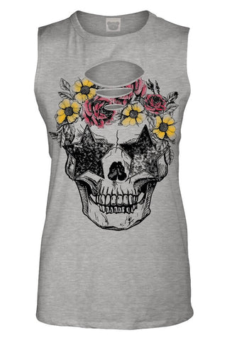 Flower Skull Ribbed Cutout Tank Top, Grey, Tank Tops