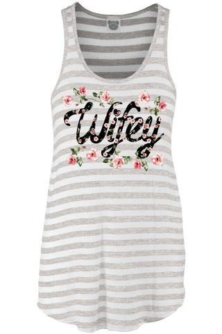Wifey Floral Tank Top, Grey/White, Tank Tops