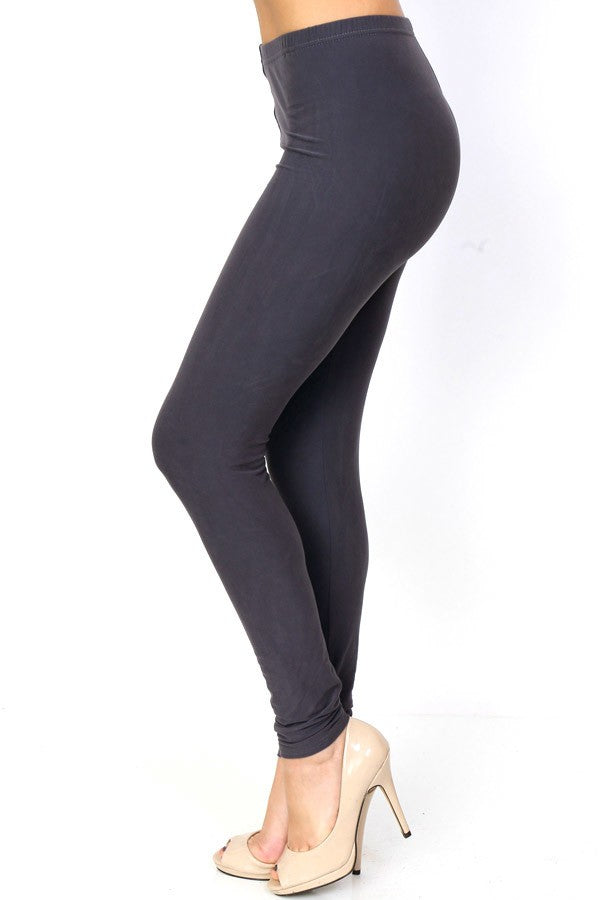 Charcoal Solid Color Leggings | Carefree Trends