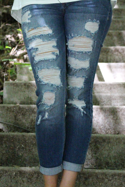 Destroyed Skinny Cuffed Denim Jeans, Jeans