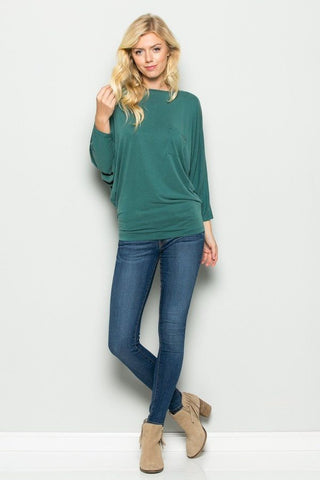 Cutie Pie Cupro Pocket Hunter Green Top, Long Sleeve Tops