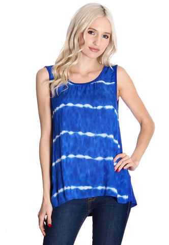 Blue Tie Dyed Tank Top, Tank Tops