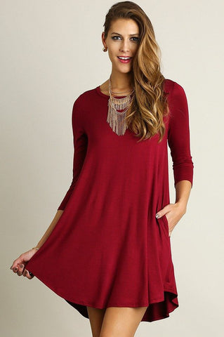 T-Shirt Dress with Pockets, Knee High Dresses
