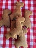 Giraffe shaped Peanut Butter and Cinnamon treats for your pup