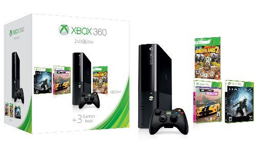 Microsoft Xbox 360 E 250GB Spring Value Bundle with 3 Games