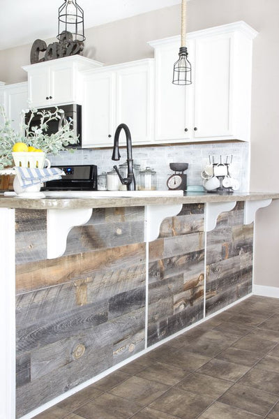 repurposed hardwood floor scraps for breakfast bar or kitchen island