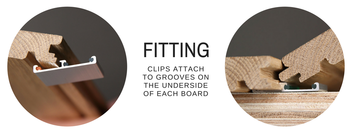 Attaching Easiklip clips to hardwood flooring boards, engineered hardwood wood flooring floors