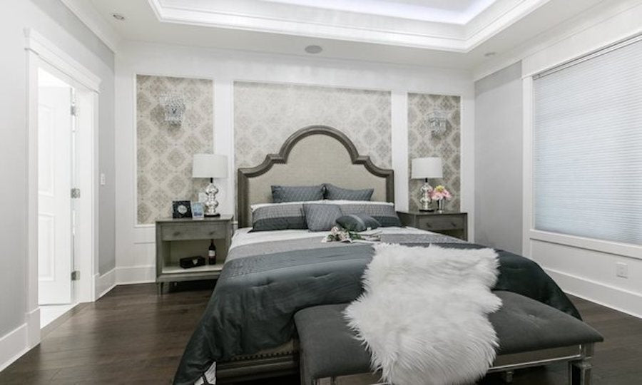 dark wood flooring with accents