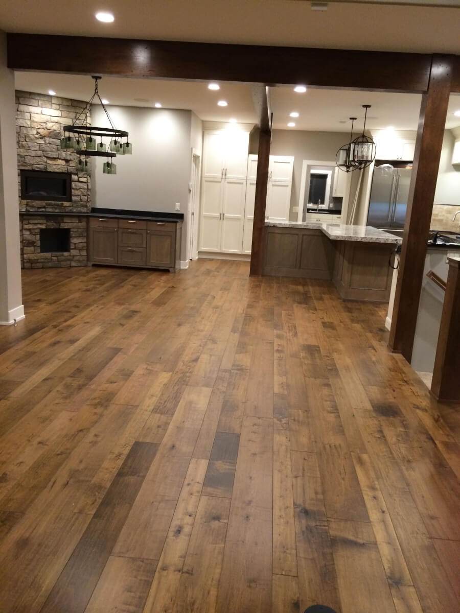 hardwood floor in basement