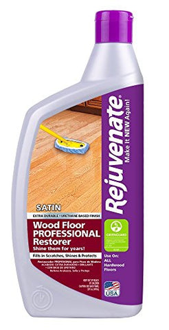 Rejuvenate Professional Wood Floor Restorer with Durable Satin Finish Non-Toxic Easy Mop On Application - 32 Ounces