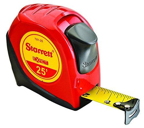 "Starrett KTX1-25-N-SP01 Exact Tape Measure, 1"" Wide x 25', Graduated in 1/16"", with Over molding for Improved Grip"