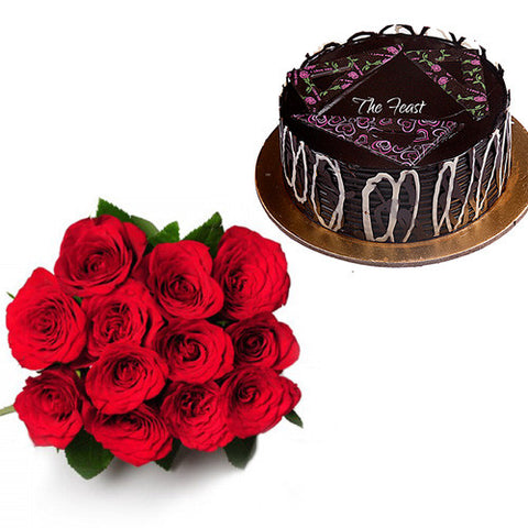 Red Roses (12 Pcs.) With Chocolate Truffle - The Feast Bakery, Jaipur