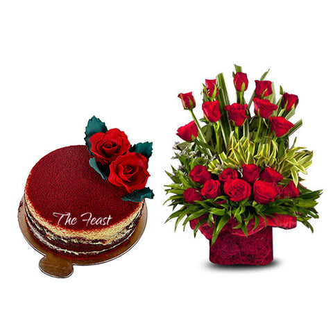 Red Roses (20 Pcs.) In Jute Basket With Red Velvet - The Feast Bakery, Jaipur