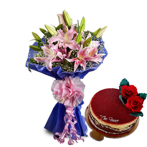 Pink Lilies (5 Pcs.) With Red Velvet - The Feast Bakery, Jaipur