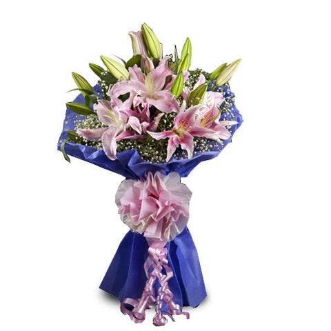 Pink Lilies - 5 Pcs. - The Feast Bakery, Jaipur