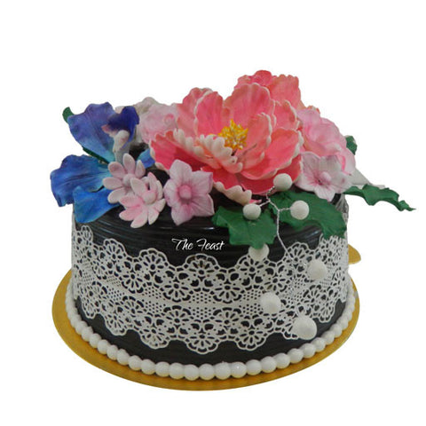 Chocolate Cake with Flowers - The Feast Bakery, Jaipur