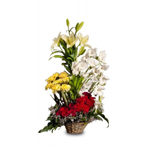 Classic Mixup Flowers Basket - The Feast Bakery, Jaipur
