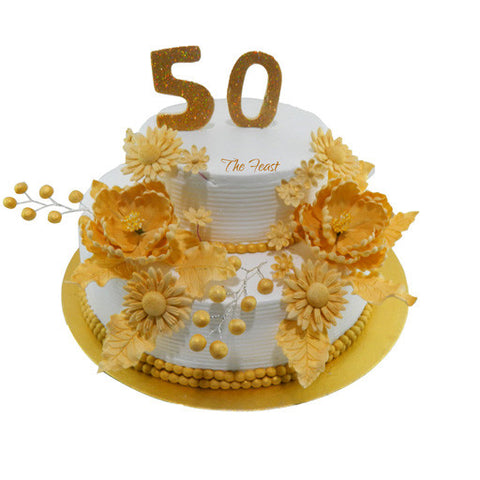 Gold Flowers Cake (Tier Cake) - The Feast Bakery, Jaipur