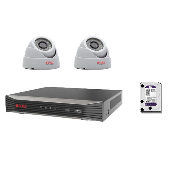 2 IP Cameras Bundle, 8-Channel 4 Megapixels Network Video Recorder with 2x IP HD 3 Megapixels Security Cameras