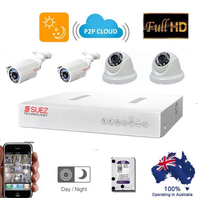 ST-K4040720 Suez Technology 4 Ch 1080N DVR - 2 HD 1000TVL Indoor Cameras - 2 Waterproof outdoor Cameras + 1 tb HDD - SUEZ TECHNOLOGY PTY LTD – Security and electronic solutions