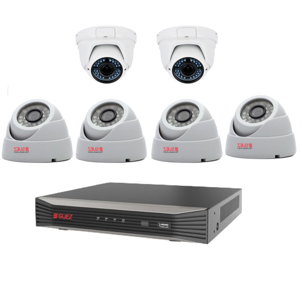 NEW IN! SUEZ TECHNOLOGY SZ-V20V43M-PO 4K H.265 8ch POE NVR 2 X 3MP VARIFOCAL CAMERA 4X 3MP  OUTDOOR WATERPROOF