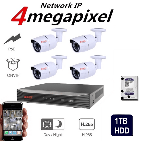ST-KP408400-PA  8Ch 4K 8POE H.265  Network Video Recorder -  4x 4MP Super HD Waterproof Security IP Network Cameras + 1TB HDD - SUEZ TECHNOLOGY PTY LTD – Security and electronic solutions