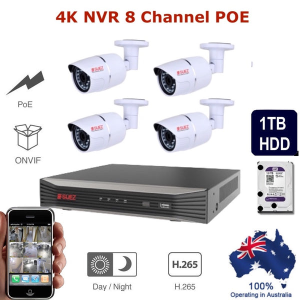 Back in Stock!! 8Ch 4K 8POE H.265  Network Video Recorder -  4x 4MP Super HD Waterproof Security IP Network Cameras + 1TB HDD