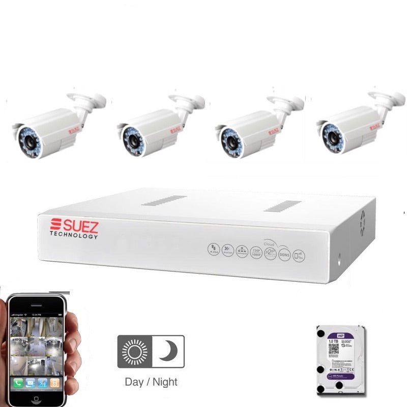 Four Channel 1080p 1TB DVR with (4) Outdoor Waterproof IR Cameras