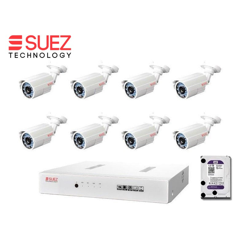 FULL HD DVR SECURITY SYSTEM - 8 CAMERAS 1080 Eight Channel 8 Camera HDMI CCTV Security System with 1TB Hard Drive