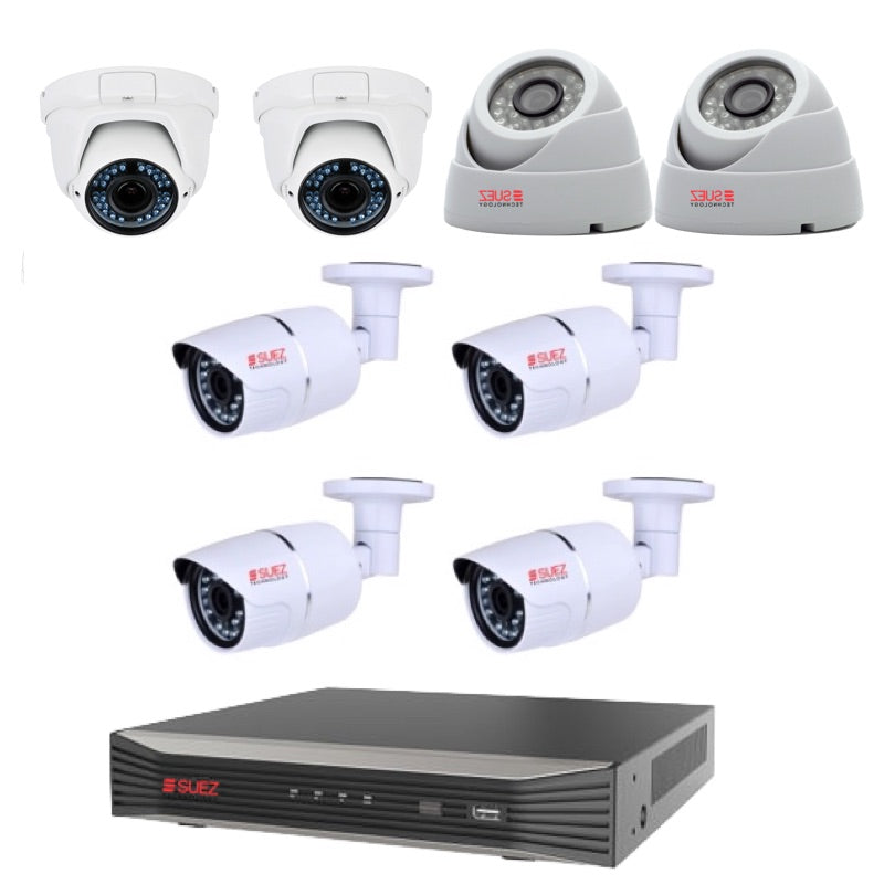 Commercial Grade 8 Channel Security System  4K H.265 POE NVR 4x 4MP OUTDOOR BULLET CAMERA 2 X 3M LENTS 2.88 -12 MM CAMERA 2X OUTDOOR WATERPROOF