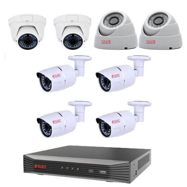 8 Channel 4K H.265 POE NVR 4x 4MP OUTDOOR BULLET CAMERA 2 X 3M LENTS 2.88 -12 MM CAMERA 2X OUTDOOR WATERPROOF