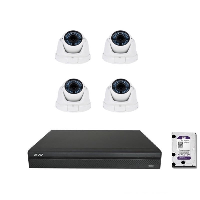Commercial Grade NVR DHI-NVR4108H-8P  4x 3MP Waterproof Wide Angle Lents 2.88 - 12mm IP Cameras 2TB HDD