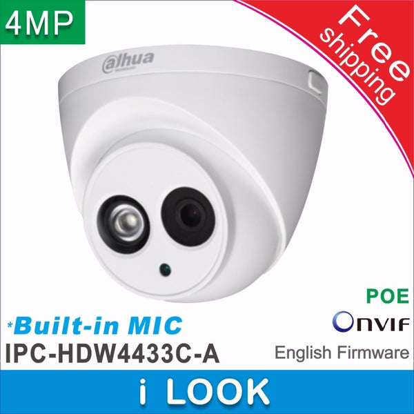 Dahua OEM Built-in MIC HD 4MP network IP Camera IPC-HDW4433C- POE 3.6mm Lents