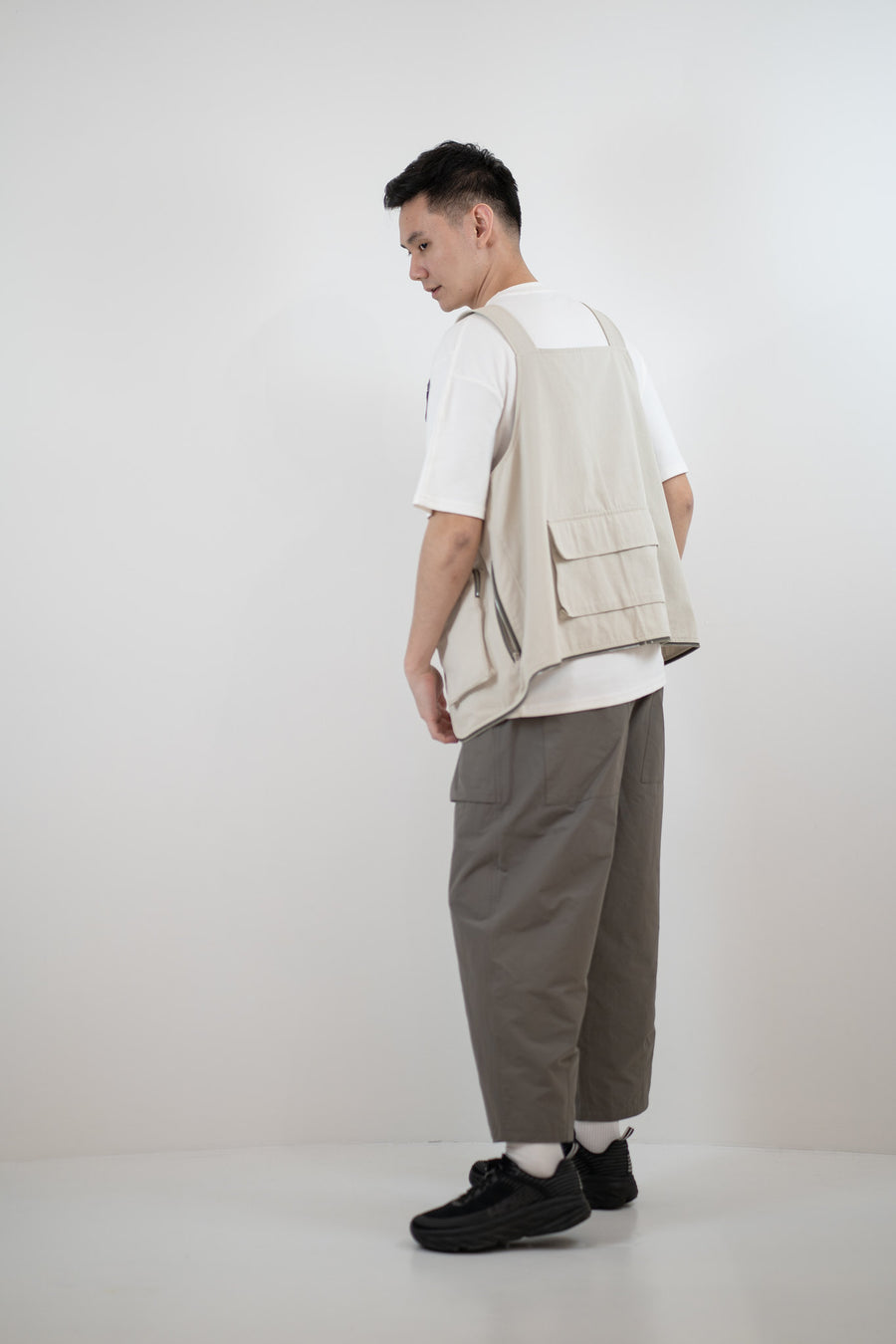 Relaxed Elasticated Trousers - Pebble Grey