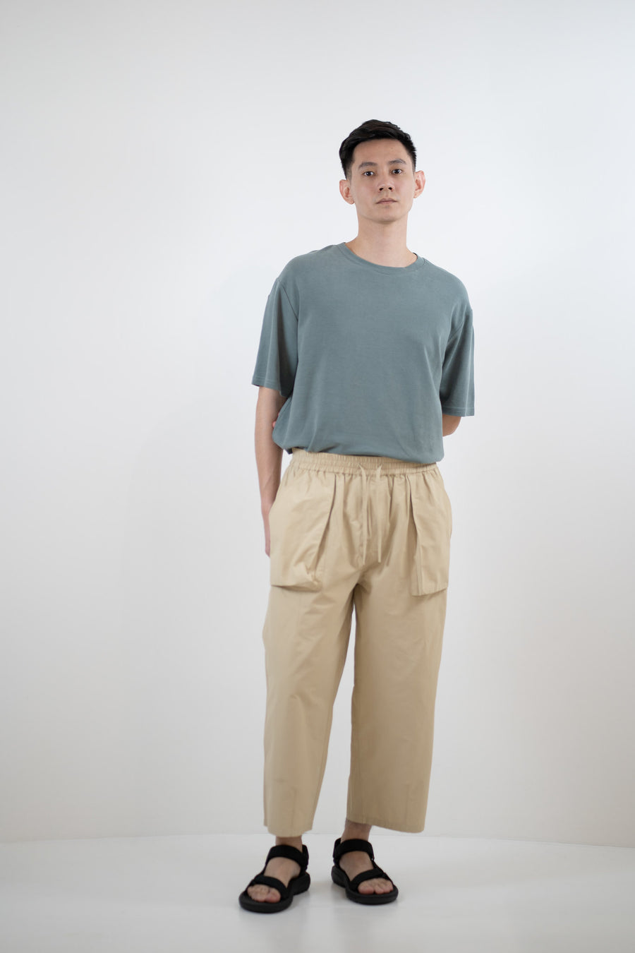Relaxed Elasticated Trousers - Beige