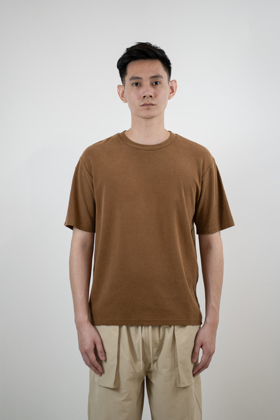 Cupro & Lyocell Double Jersey Tee | Sustainable T-Shirts | Sustainability | Crewneck | Asymmetrical Dropped Shoulder Seam | Relaxed Fit | Burnt Orange