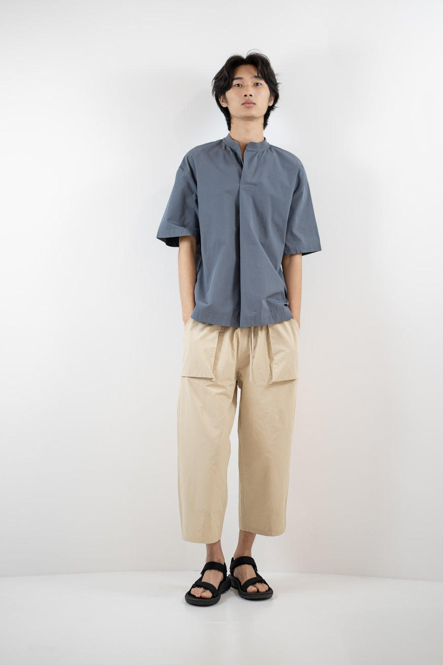 Front Pleated Top - Steel Blue