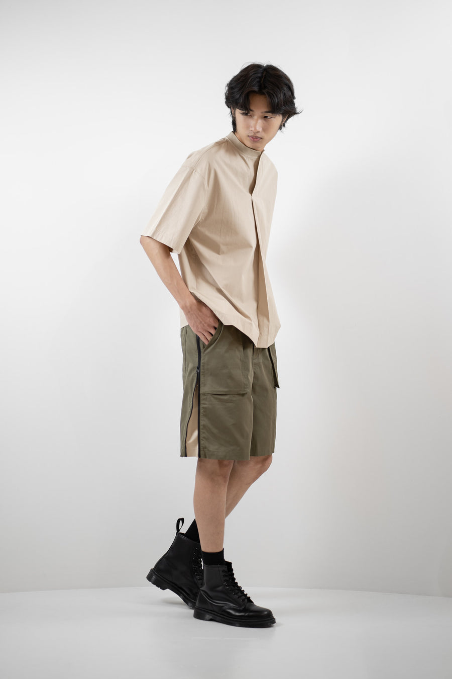 Front Pleated Top - Light Beige