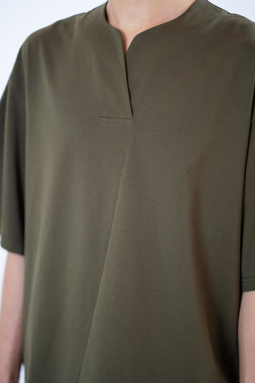V-Placket Tee - Olive Green
