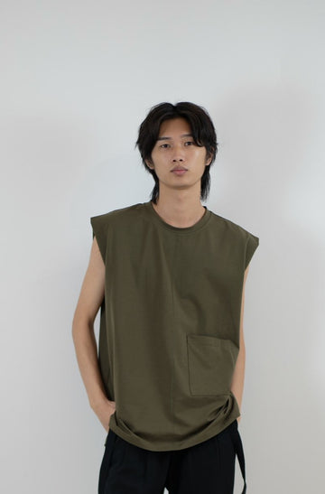 Sleeveless Tee - Olive Green