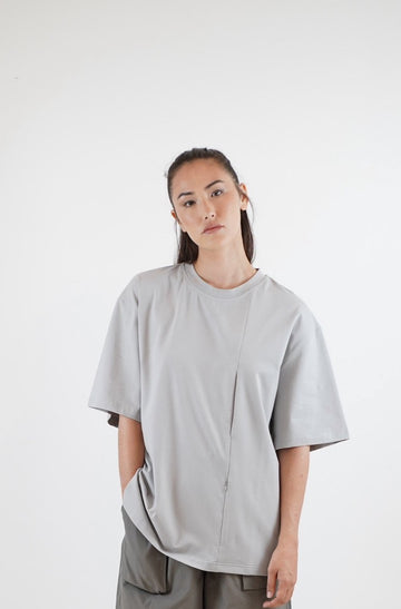 Line Pocket Tee - Morandi Grey
