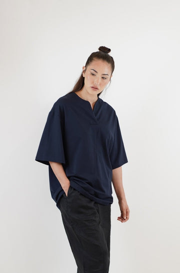 V-Placket Tee - Midnight Blue